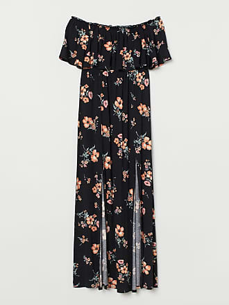 H&M Long Dress with Flounce - Black