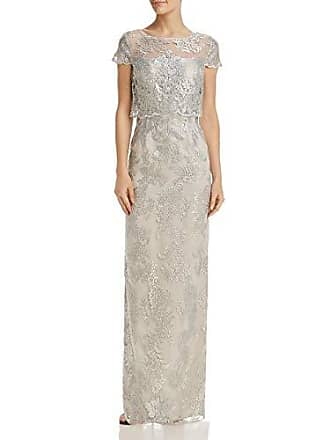 Adrianna Papell Womens Pop Over Metallica Embroidered Lace Dress Gown, Silver 2
