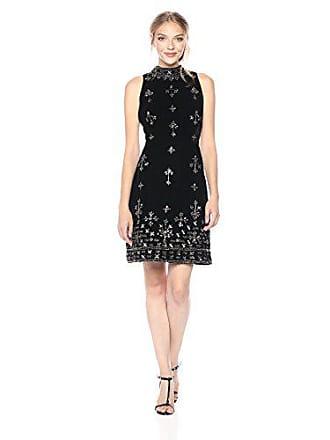 Adrianna Papell Womens Sleevless Mock Neck Beaded Velvet Cocktail Dress, Black, 10
