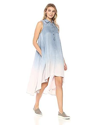 Chelsea & Theodore Womens Sleeveless Button Front HIGH Low Dress, Sandblast Ombre, Large
