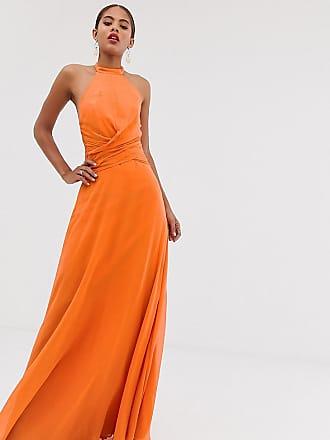 Asos Tall ASOS DESIGN Tall - Maxikleid mit hohem Ausschnitt und drapierter Taille-Orange