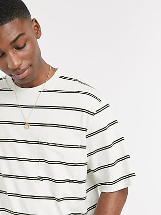 Topman boxy striped t-shirt in off white & khaki