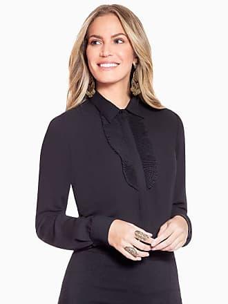 Principessa Camisa Social Preta com Plissados Principessa Lindsey