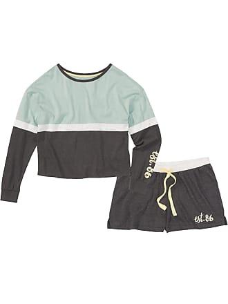 Bonprix Dam Långärmad pyjamas med shorts i grå - RAINBOW e35371a3cec7a