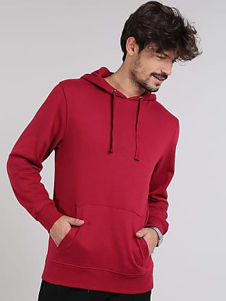 Basics Blusão Masculino Básico em Moletom com Capuz Vermelho