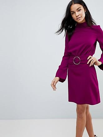 Asos ASOS 80s High Neck Mini Dress with Belt - Purple