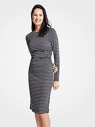 ANN TAYLOR Petite Stripe Ruched Knit Sheath Dress