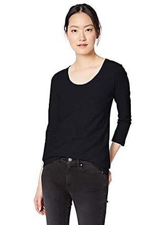 Daily Ritual Womens Lived-in Cotton Slub 3/4-Sleeve Scoop Neck T-Shirt, Navy, Medium