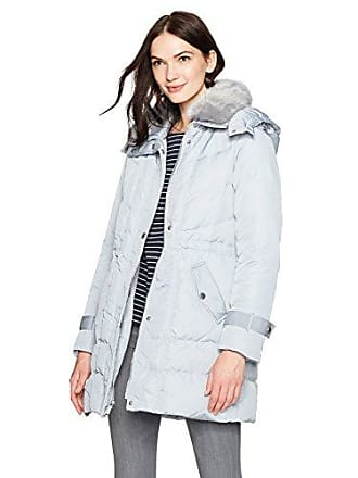 Kenneth Cole Womens Poly Oxford Hooded Down Coat with Removeable Faux Fur Collar, Oyster, S