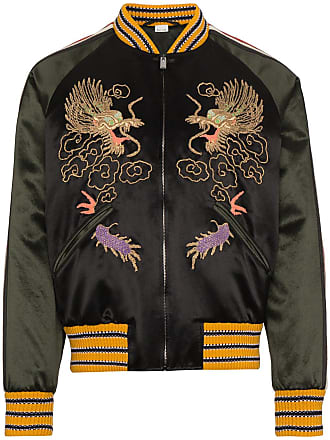 00c9135dc Gucci GG Embroidered Dragon Bomber Jacket - Black