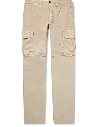 Incotex Slim-fit Cotton And Linen-blend Cargo Trousers - Beige