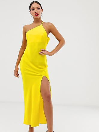61889b2d5c30 Asos Tall ASOS DESIGN Tall one shoulder midaxi dress in satin with drape  back - Yellow