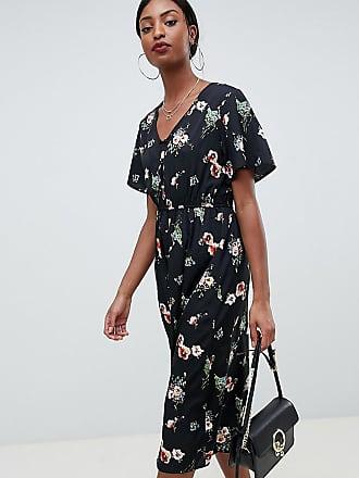 Missguided Tall Vestito midi nero a fiori con bottoni - Bianco 816614ceb7c