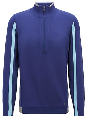 000548f43 BOSS Color-block sweater in stretch fabric with zippered neck