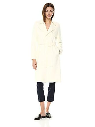 Theory Womens Belted OAKLANE Trench Coat, Ivory, S