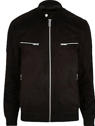River Island Mens Big and Tall black faux suede racer jacket