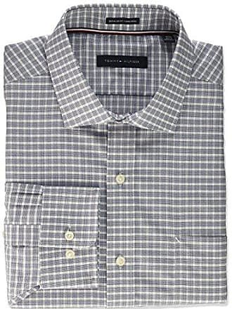 81e9995ca Tommy Hilfiger Mens Non Iron Regular Fit Check Spread Collar Dress Shirt,  Dark Navy,