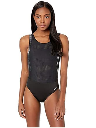 488b876025ae4 Nike Sport Mesh Convertible Layered One-Piece (Black) Womens Swimsuits One  Piece