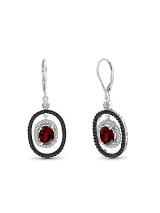JewelersClub JewelersClub 3.20 Carat Garnet Gemstone and Accent White Diamond Earring
