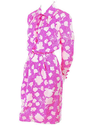 4d3423aeb4 Givenchy 1980s Vintage Givenchy Pink   White Floral Dot Silk Day Dress