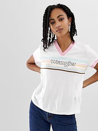 Wrangler T-shirt anni 80 con scollo a V e logo a righe sul davanti-Bianco