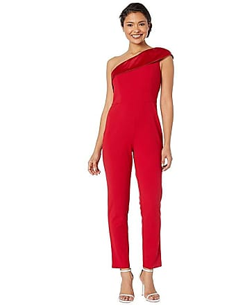 8a300524a9eb Adrianna Papell One-Shoulder Knit Crepe Jumpsuit w/ Stretch Charmeuse  Neckline (Cardinal)