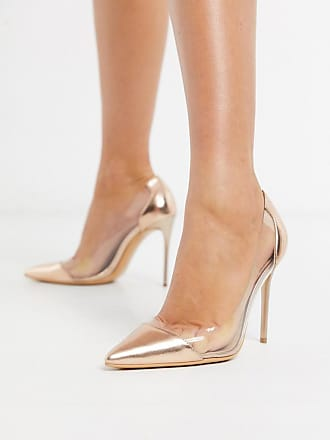 Truffle clear stiletto heeled shoes in rose gold-Copper