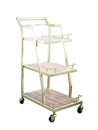 Bloomingville Creative Co-Op Wood & Metal 3-Tier Bar Cart 12-Shelves, Gold