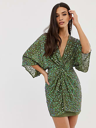Asos scatter sequin knot front kimono mini dress - Green