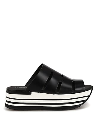 8f0b150e5f6c Hogan Black leather maxi platform slide sandals