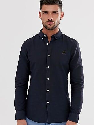 Farah Brewer - Schmal geschnittenes Oxford-Hemd in Marineblau-Navy