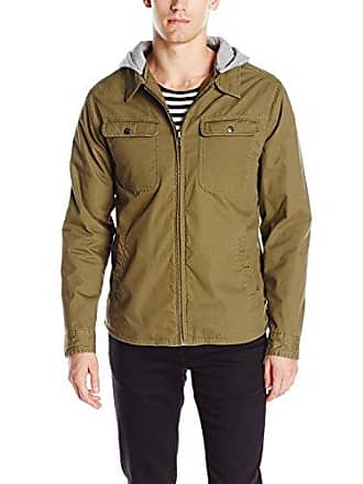 Brixton Mens Canton Removable Hood Utility Water Resistant Standard Fit Jacket, Olive, Small