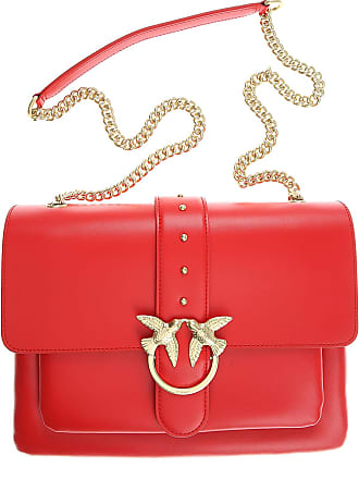 Pinko Shoulder Bag for Women On Sale, coral red, Leather, 2017, one size