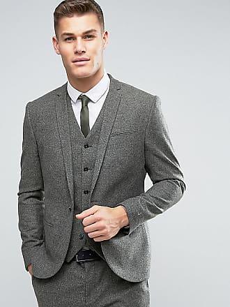 Noak Veste de costume en laine avec effet moucheté et coupe ajustée - Vert 3a84cc9aad0