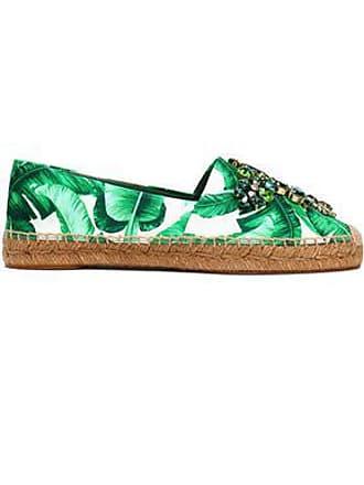 e1dc34de7ad9 Dolce   Gabbana Dolce   Gabbana Woman Embellished Printed Satin Espadrilles  Green ...
