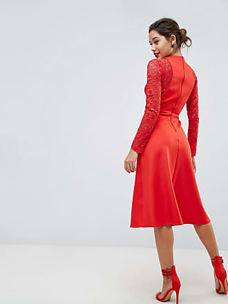 db83d62afc Asos ASOS Premium Midi Scuba Skater Dress with Lace Sleeves - Red