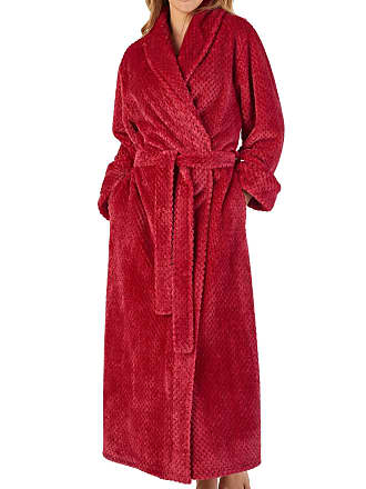 Slenderella Ladies Waffle Dressing Gown Soft Flannel Fleece Shawl Collar  Wrap Robe Medium (Red) f35d114f1