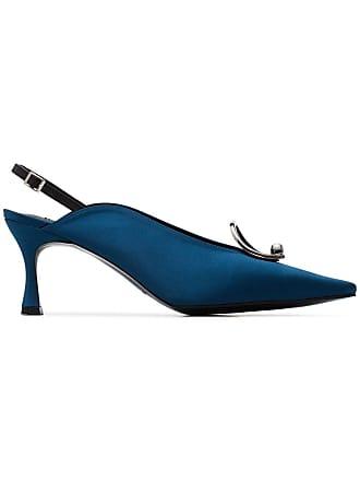 Yuul Yie Teal Lune 70 slingback oval brooch pumps - Blue