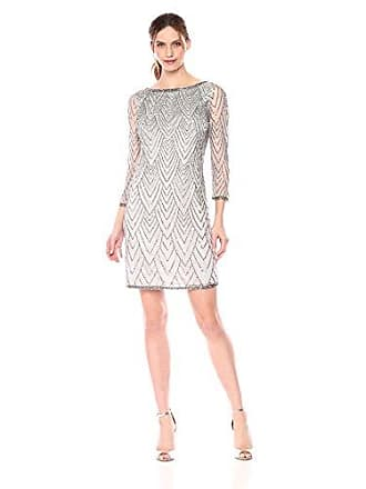 J Kara Womens Short Cocktail with All Over Beaded Dress, Silver/Mercury 18