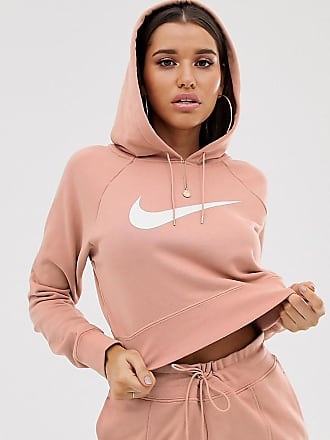 ce8a08c56 Nike Rose Gold Oversized Swoosh Logo Cropped Hoodie