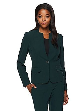 Kasper Womens Stretch Crepe 1 Button Collarless Jacket (2), fir Green, 16