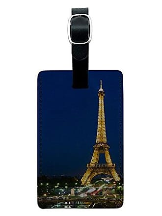 Graphics & More Graphics & More Paris-Eiffel Tower at Night Leather Luggage Id Tag Suitcase Carry-on, Black