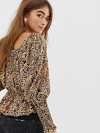 8ac9242021650 Asos Petite ASOS DESIGN Petite long sleeve square neck top with shirred  sleeve detail in tiger