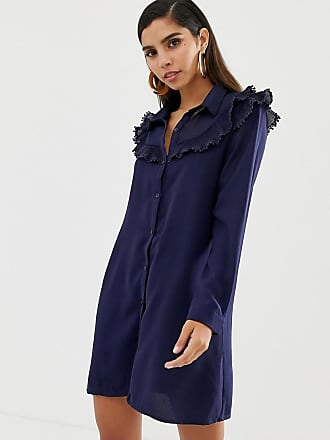 Liquorish shirt dress with ruffle bib detail - Navy