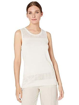 Calvin Klein Womens Sleeveless Multi Stich with Lurex, White Gold, Large