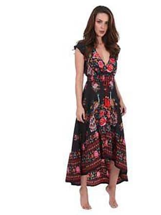 Lola Swimwear Vestido con Estampado Floral, Borlas en Frente y Olán en la Parte Inferior<br>Negro