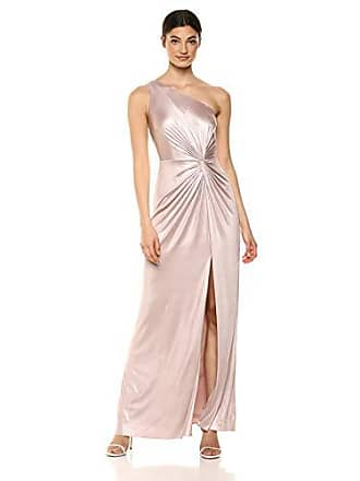 2ac00062b1c0 Adrianna Papell Womens One Shoulder Metallic Dress with Knot Detail, Dusted  Petal, 14
