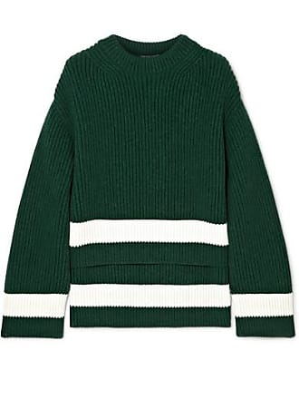 Alexander McQueen Striped Ribbed Wool And Cashmere-blend Sweater - Green