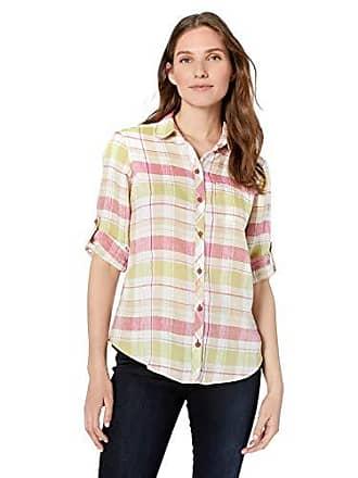 Foxcroft Womens Reese Linen Plaid Shirt, Flamingo, 16