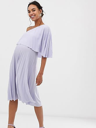 5a95ae9a89 Asos Maternity ASOS DESIGN Maternity One shoulder pleated midi dress -  Purple